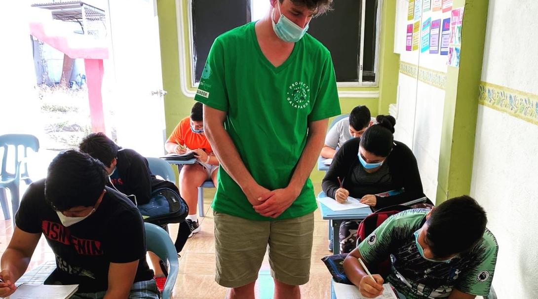 A Teaching volunteer helps lead a class in the Galapagos Islands, Ecuador.